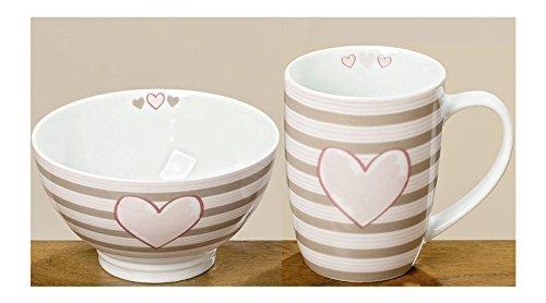 Boltze Set Petit Déjeuner Bol et tasse rayé avec cœur rose beige