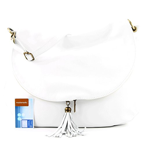 modamoda de - ital. Ledertasche Damentasche Schultertasche Umhängetasche Nappaleder T40 Weiß Large