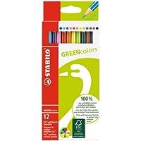 STABILO GREENcolors - Étui carton de 12 crayons de couleur - Coloris assortis