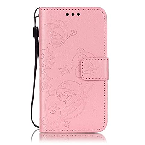 Ecoway Butterfly embossed pattern PU Leather Stand Function Protective Cases Covers with Card Slot Holder Wallet Book Design Detachable Hand Strap for Samsung Galaxy A3 (2015) -
