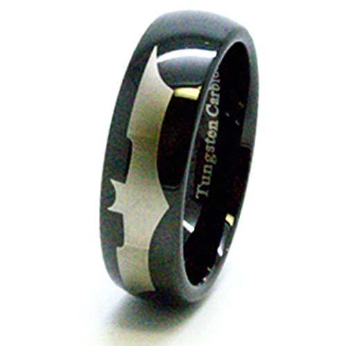 8 mm negro Batman carburo de tungsteno Anillo alianza ½ talla L