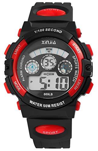 XINJIA - Reloj de Pulsera para Hombre (Digital, Fecha, Alarma, luz, plástico, Silicona, Cuarzo), Color Negro y Rojo