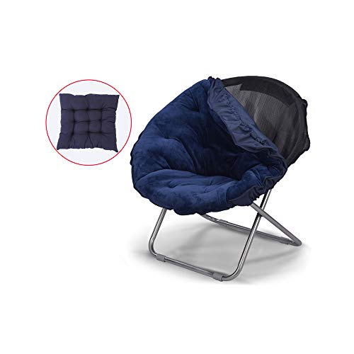 YQQ-Chaise pliante Chaise Longue Chaise De Pause Déjeuner Acier Lavable Coussin Moelleux 50 * 82CM (Couleur : Bleu)