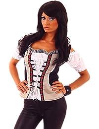 20615 Fashion4Young Damen Dirndlbluse Bluse Trachtenbluse Dirndl Trachten Oktoberfest Lederhose Trachtenmieder