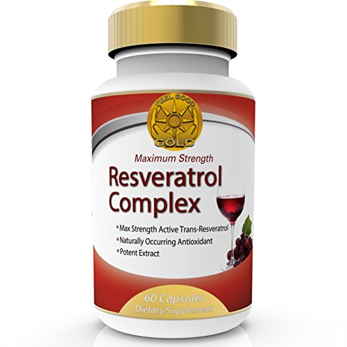 Trans-Resveratrol Ultra Complex 150mg Max Strength Dietary Supplement.Feel Good Gold. High Potency Targeted Release Antioxidant and Anti-Ageing, same effects as Red Wine Polyphenols, Grape Seed Test
