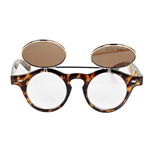 Beito 1x Steampunk Goth Brillen Retro Flip Up Rund Double Layer Sonnenbrille Shades (Rahmen Farbe Leopard Print)