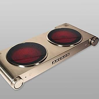 Arebos plaque de cuisson lectrique en acier inox avec deux feux en vitro c ramiques 2400 w - Plaque electrique deux feux ...