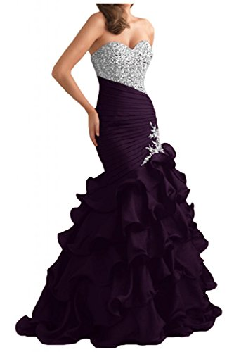Gorgeous Bride Glamour Herzform Mermaid Organza Kristall Ballkleid Prom Kleid Abendmode Grape