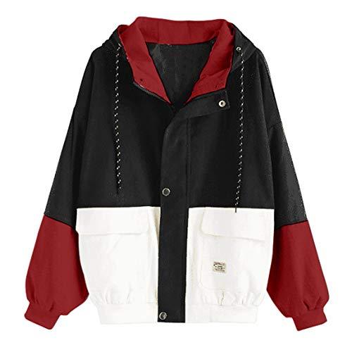 Moonuy,Damen Long Sleeve Hoodies, Damen Cord Patchwork Oversize Zipper Jacke Windbreaker Crop Mantel Lässige Mantel für Party, Beach Damen Mädchen Sweatshirt (Schwarz 1, Medium) Cord-zip-jacke