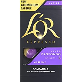 L'OR Espresso Lungo Profondo Intensity 8 – Nespresso* Compatible Coffee Capsules (Pack of 10, 100 Capsules in Total)