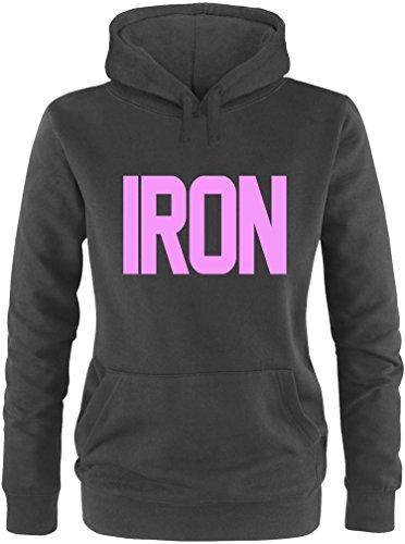 EZYshirt® Iron Damen Hoodie Schwarz/Rosa