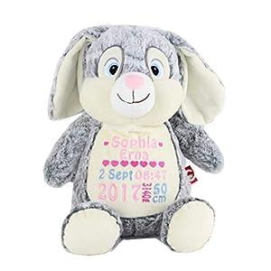 Stofftier Teddy Hase grau Geschenk mit Namen und Geburtsdatum personalisiert 40cm