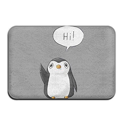 """Uosliks Cute Fußabtreters Hi Penguin Nice Door Mat Welcome Mat Non-Slip Fußabtreter Coral Fleece Indoor Kitchen Floor Rug Front Door Mat Funny Flannel Carpet 23.6""""x 15.7""""/40 x 60cm"""