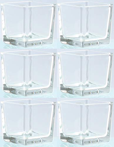 Novaliv Teelichtglas eckig 8cm Glastopf klar Kerzenhalter Tischdekoration