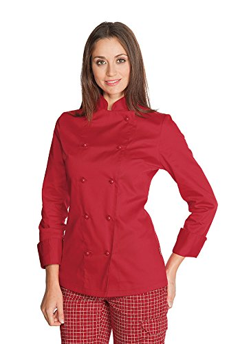Isacco - Veste Femme Chef Cuisinier Rouge Blanc