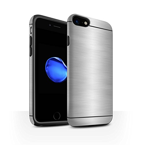 STUFF4 Matte Harten Stoßfest Hülle / Case für Apple iPhone 8 / Grün Muster / Gebürstetem Metall Mutser Kollektion Silber