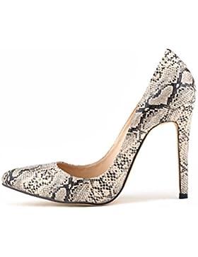 QPYC Ladies punta classica tacchi alti Serpentine Shallow Mouth Tacco sottile donna scarpe singole grandi dimensioni...