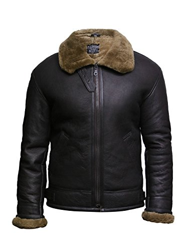 Brandslock Uomo Aviator B3 Real Shearling pelle di pecora Bomber Leather Pilot Jacket (S, MARRONE)