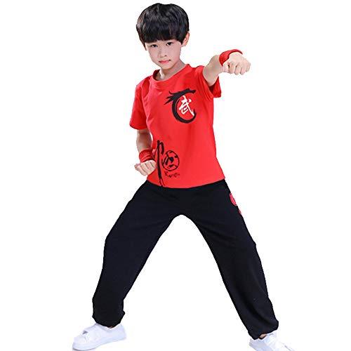 FHKL Kampfsport Bekleidung Kind Trainingsbekleidung Sets Schüler Jungen Chinesisch Traditionell Tai Chi Uniformen Kung Fu Mädchen Anzüge Performance Kostüme,Redtop+BlackPants-120