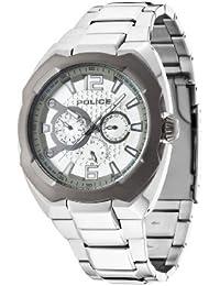 Polizei Maverick Herren Quarz-Armbanduhr mit Silber Zifferblatt Chronograph-Anzeige und Silber Edelstahl Armband 14106jstu/04M
