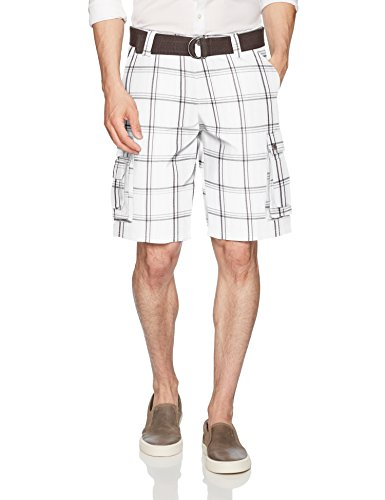 Belted Plaid Jeans (Lee Herren Dungarees New Belted Wyoming Cargo Short Cargohose, White Jamestown Plaid, 49)
