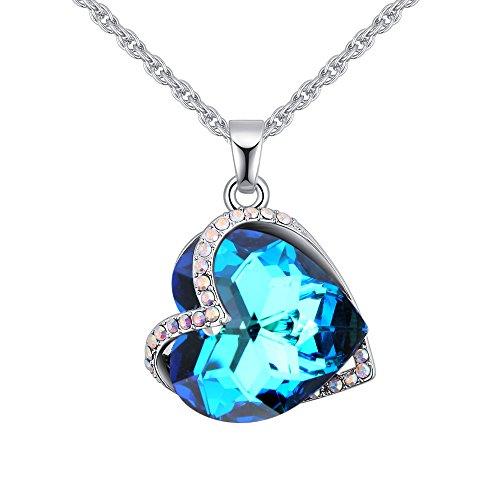 MYVIYSENY Österreich Kristall Halskette Anhänger Mode Persönlichkeit für Frauen Mädchen mit Herz und Seele Design - Blaues Licht