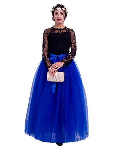 Diy Meerjungfrau Erwachsene Für Kostüme (Honeystore Damen's Tüllrock Lang 5 Layer Prinzessin Kleider Lang Petticoat Ballettrock Maxi Unterrock Pettiskirt Lang One Size)