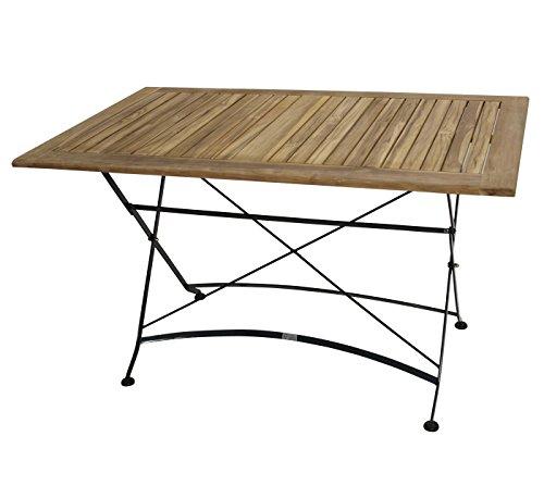 1 Tisch Klapptisch 75 X 125 Gartenmobel Stahl Holztisch Teak Holz