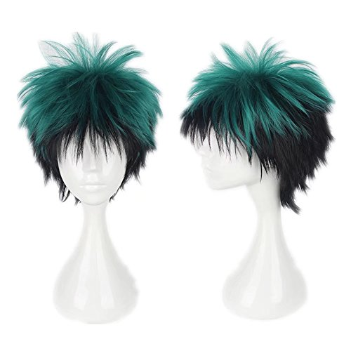 COSPLAZA kurze flauschige grün schwarz gemischt Cosplay Kostüm Perücken Comic Cons Haar für Jungen (Schwarz-haar-perücke Kurz)