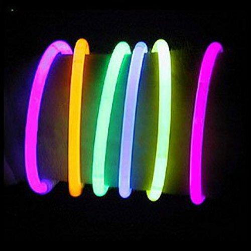 Glowsticks Glow Stick Armbänder Handgelenk Band Neon Halskette für Geburtstagsfeier Gefälligkeiten mit Anschlüssen, 8 Zoll gemischte Farbe (Halskette Glow-sticks)