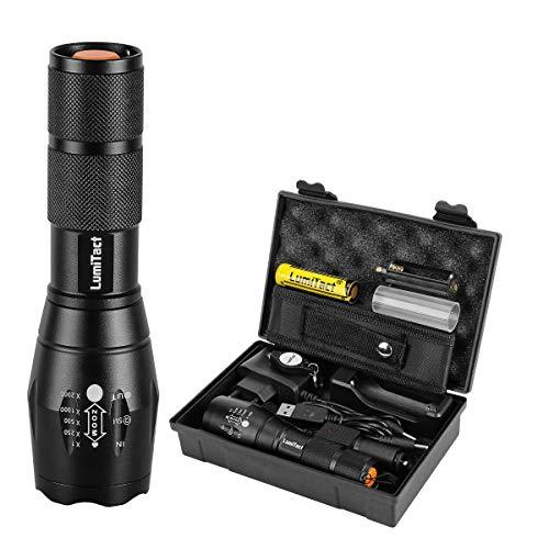 Lumitact G700 LED Taktische Taschenlampe, 5 Modi Wiederaufladbar Taschenlampen aufladbar Super hell 1000 Lumen Fackel mit Zoom für Camping, Wandern und Notfälle