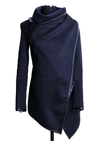 Les Femmes Élégantes À Long Manche Iregualr - Slim Laine Impers Croix De Revers De Manteau blue