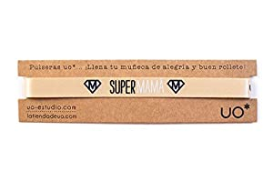 UO- Pulsera Estampado Supermama, Color Dorado (