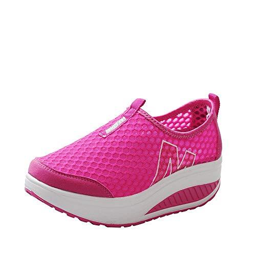 NINGSANJIN Unisex Damen Laufschuhe Fitness Sneaker Sport Turnschuhe (Hot Rosa,37) (Rosa Hot Turnschuhe)