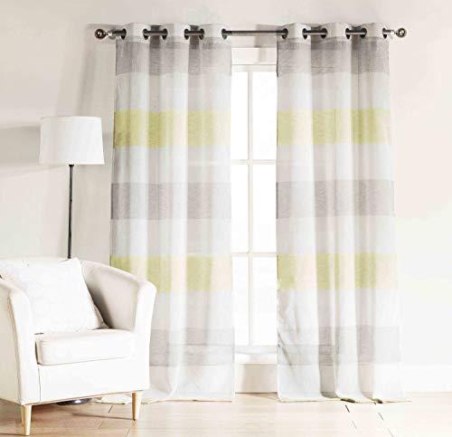 Bathroom and More Bad und Mehr Set Zwei (2) Grau, Gelb weiß Sheer Fenster Vorhang Panels: Cabana Stripe, Tüllen Cape Cod Panel Pair (2) 112