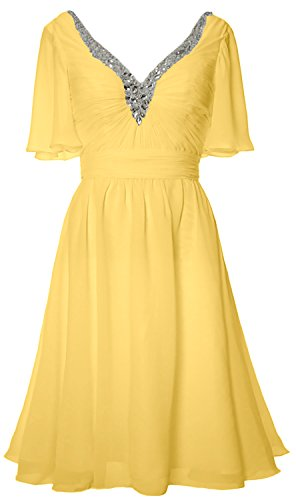 MACloth Women Short Sleeves Mother of Bride Dress V Neck Evening Formal Gown Canari