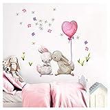 Little Deco Wandtattoo Babyzimmer Küssende Hasen Ballon I M - 59 x 55 cm (BxH) I Luftballon Rosa Kinderbilder Deko Kinderzimmer Mädchen Aufkleber Sticker DL230