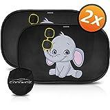 Tendine parasole auto bambini nere elefante - Parasole bambini accessori auto,2 pezzi 51x31cm, tende da sole per esterno, protezione solare raggi UV
