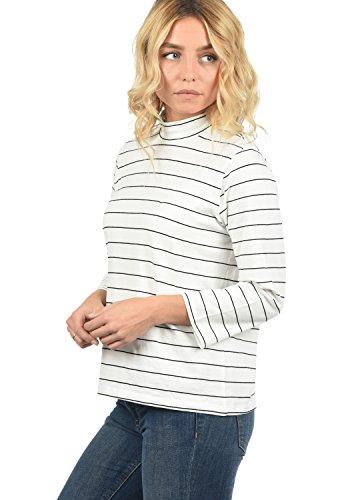 ONLY Anne Damen Longsleeve Langarmshirt Streifen Mit Turtleneck Und 3/4 Arm, Größe:L, Farbe:Cloud Dancer/Black Pinstripes (Sleeve 3/4 V-neck-shirt)