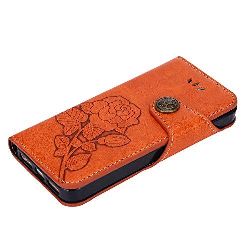 Custodia iPhone 5, iPhone 5S Flip Case Leather, SainCat Custodia in Pelle Flip Cover per iPhone 5/5S/SE, Custodia Bling Glitter Diamante Ultra Sottile Anti-Scratch Book Style Custodia Morbida Cover Pr Arancione #