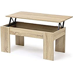 IDMarket - Table Basse avec Plateau relevable Bois Imitation hêtre