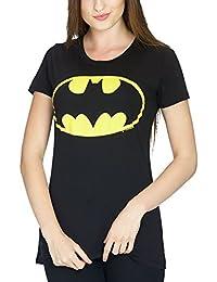 T-shirt girlie logo Batman pour dame coton noir