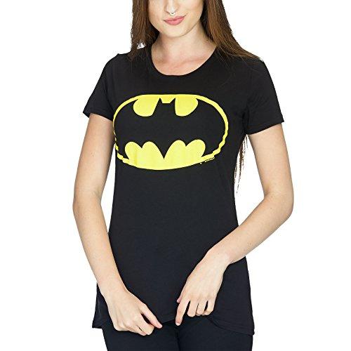 Classic Batman Logo T-shirt (Batman Logo Girlie Shirt Damen schwarz Baumwolle - S)