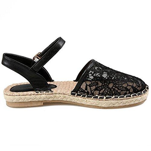 COOLCEPT Femme Mode Sangle de Cheville Sandales Bout Ferme Boucle Chaussures Noir