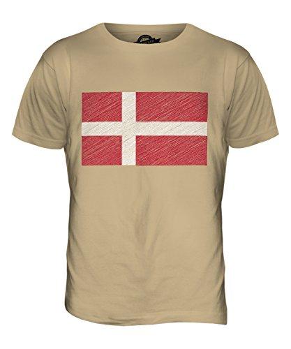 CandyMix Dänemark Kritzelte Flagge Herren T Shirt Sand