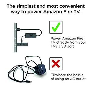 Mission Cables MC45 - Cable USB de Corriente para el Amazon Fire TV con 4K Ultra HD, Color Negro