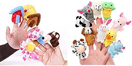 Kuhu Creations® Supreme Finger Puppets Baby Story Telling Toys. (Animal+Little Pigs 18pcs)