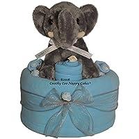 Baby Boys Blue Elephant Nappy Cake Hamper FREE DELIVERY (Large)