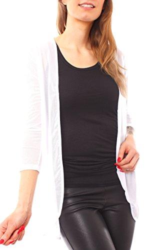 Damen Mesh Netz Tüll Stretch Jacke Jäckchen Open Cardigan Lang Langarm Transparent Offen Einfarbig One Size Weiß