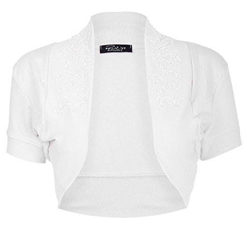 Fast Fashion Damen Oben Flügelärmel Baumwolle Bördelte Pailletten Bolero Schulterzucken (Baumwolle Schulterzucken)